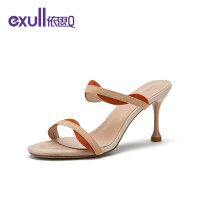 依思q夏季新款细高跟优雅气质时尚两穿细带凉鞋拖鞋19165015
