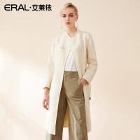 ERAL/艾莱依呢子大衣女中长款韩版2018新款时尚收腰外套617072015