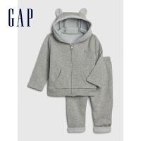 Gap婴儿连帽长袖长裤套装春513702 可爱熊耳长袖洋气纯色上衣