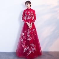 新娘敬酒服2018新款春季长款红色订婚结婚晚礼服裙长袖立领显瘦女