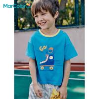 马卡乐童装2021夏季新款男童时尚笑脸印花全棉短袖T恤