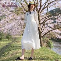 生活在左2019秋季女装新品米白色长袖连衣裙宽松a摆中长裙子仙女