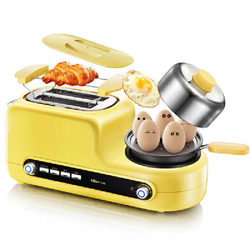 小熊(Bear)家用烤面包机 2片早餐多士炉 全自动吐司机 DSL-A02Z1不粘煎盘 304不锈钢蒸盘 烤/煎/蒸/烙