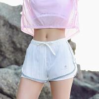 暴走的萝莉 拼纱运动短裤女收腰含内衬速干透气训练跑步健身热裤