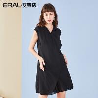 ERAL/艾莱依2018夏装新款性感V领无袖连衣裙修身显瘦百褶小黑裙子617202079