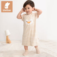 威尔贝鲁 卡通短袖宝宝睡袍 婴儿家居服儿童彩棉套头长袍夏款