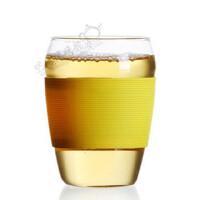 楼龙 耐热玻璃杯 硅胶套马克杯 五色炫彩单层水杯 CF-116黄色     1603