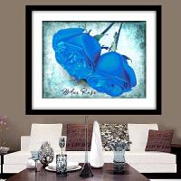 3d蓝色妖姬精准印花十字绣爱情玫瑰花小幅卧室新款