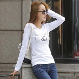 【用券立减100元】白领公社 T恤 女士春季新款纯色上衣小衫女式韩版修身体恤打底衫棉质长袖.