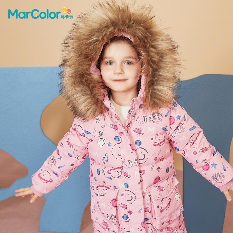 【清仓价折后2.2折】巴拉巴拉旗下马卡乐童装冬季新款仿貉连帽毛领保暖男女童超长款羽绒服鹅绒