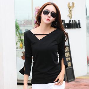 秋季新款女装上衣白色长袖打底衫t恤衫女修身韩版纯棉大码体恤衫