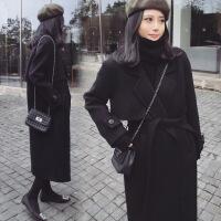 新女大衣2018春秋新款中长款女式毛呢外套 修身系腰带女士呢料大衣 黑色 X