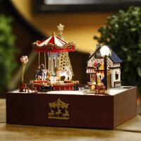 旋转木马音乐盒天空之城木质八音盒生日礼物女生