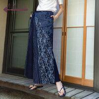 生活在左蓝印花布系列秋季女装新品纯棉印花宽松显瘦长款阔腿裙裤