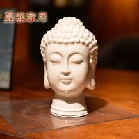 墨菲新中式释迦摩尼佛首冰裂釉陶瓷佛头禅意摆件东南亚家居工艺品