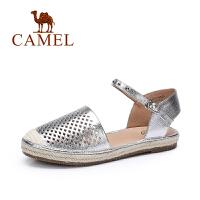 骆驼休闲时尚夏季女鞋 镂空腕带一字扣圆头单鞋 新款平底单鞋