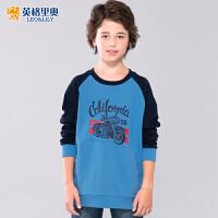 英格里奥男童套头卫衣中大童儿童运动长袖圆领打底衫