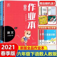 全品作业本六年级上语文数学上册2本套装人教版2021秋同步训练