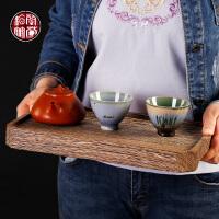 鸡翅木单茶盘子实木质干泡盘大号茶托盘功夫茶具茶台办公日式小号