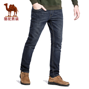 骆驼男装 秋季新款商务休闲直筒中腰牛仔裤黑蓝色长裤子男