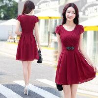 雪纺连衣裙女夏季新款女装韩版修身气质淑女雪纺裙夏天中长款裙子