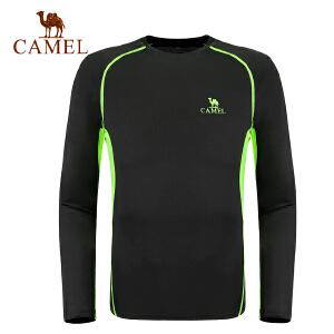 camel骆驼男款健身圆领上衣 网布拼接舒适休闲长袖上衣t恤