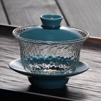 青花瓷手抓功夫敬茶碗大号透明三才玻璃盖碗手绘陶瓷茶杯茶具套装