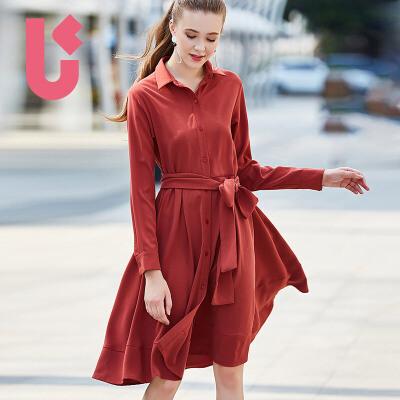 UGOCCAM2017秋装新款女简约气质OL收腰长袖中长款衬衫连衣裙长袖 收腰 衬衫裙