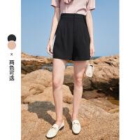 秋水伊人纯色短袖夏装2021年新款女装小众设计感纯色高腰短裤子女