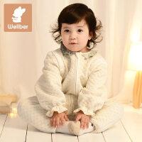 威尔贝鲁 新生儿宝宝纯棉分腿睡袋婴儿可拆袖睡袋儿童防踢被 空气层四季款
