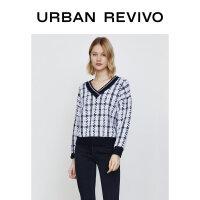 UR2020冬季新品女装插肩袖格纹撞色长袖针织毛衣T恤WG43S9BE2002
