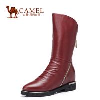 Camel/骆驼女鞋 时尚休闲 水染小牛皮尖头高跟拉链内增高高筒女靴