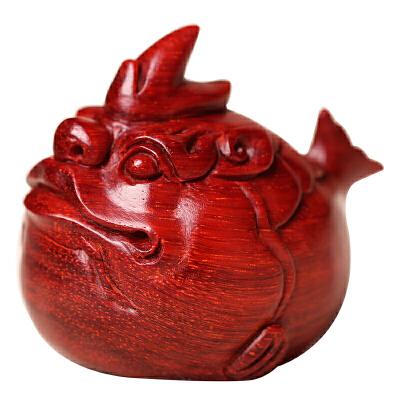 印度小叶紫檀木雕龙鱼手把件红木质招财办公室商务工艺礼品