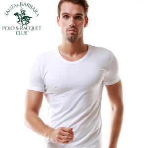圣大保罗短袖T恤男士背心运动圆领打底纯色竹纤维薄款紧身潮男式汗衫弹力吸汗透气健身青年夏季黑白色  3008
