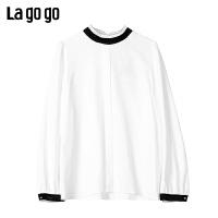 Lagogo2019冬季新款开衩纯色立领白色长袖雪纺衫上衣女ICSS539A05