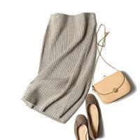2018春季针织羊绒包臀裙女中长款一步半身裙修身显�C纯羊绒毛线裙