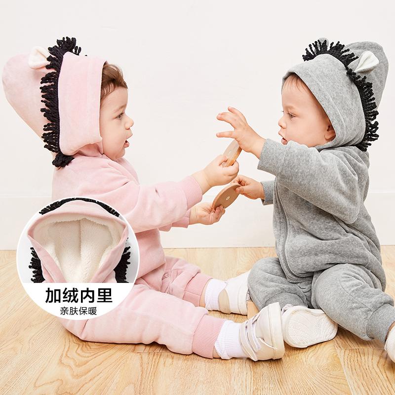 【25日0点开抢 1件6折价:162】迷你巴拉巴拉婴童连体服冬装新款婴儿男女宝宝加厚爬服连体衣