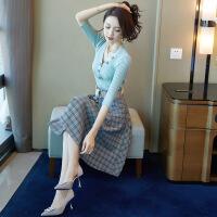 2018新款女装套装秋装女2018新款chic早秋裙子套装时尚韩版中长款针织连衣裙