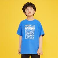 【新款5折特惠价:99元】探路者童装 2021夏新品宽松版型夜光印花男童短袖T恤QAJJ83362