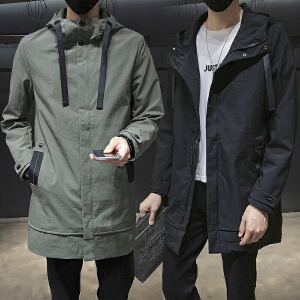 【买了都说好】2019男中长款新款秋季休闲连帽外套男韩版潮流夹克