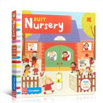 顺丰发货 英文原版绘本Busy系列 busy school新版 Nursery 繁忙的托儿所 推拉机关玩具操作纸板书