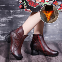女鞋粗跟马丁靴2018秋冬高跟加绒复古妈妈高跟鞋厚底单鞋