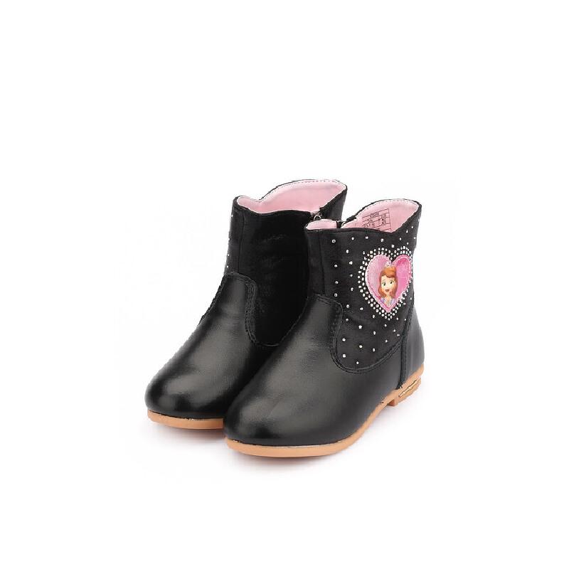 【99元任选2双】迪士尼Disney童鞋女童冬季公主加绒保暖靴子 K00035 【开学季:限时99元2双】
