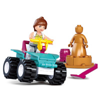 【满199立减100】小鲁班 儿童拼装积木拼插玩具海豚湾小镇系列 ATV沙滩车