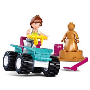 小鲁班 儿童拼装积木拼插玩具海豚湾小镇系列 ATV沙滩车