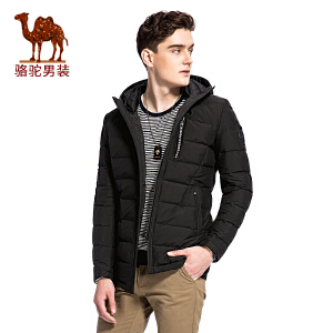 骆驼男装 冬季新款无弹纯色男青年休闲连帽中长款羽绒服