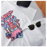 千喜步步高男女同款2021新款夏装趣味图案印花圆领宽松短袖T恤