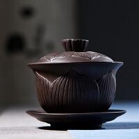 紫砂大号紫砂宜兴手工泡茶壶茶碗茶具原矿三才盖碗功夫茶具
