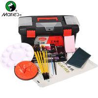 马利牌水粉颜料工具套装10件套 调色盒+画笔+画箱 16工具箱 16寸