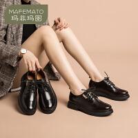 玛菲玛图英伦风小皮鞋女2020春季新款原宿日系女鞋黑色低跟单鞋学院德比鞋688-35KB